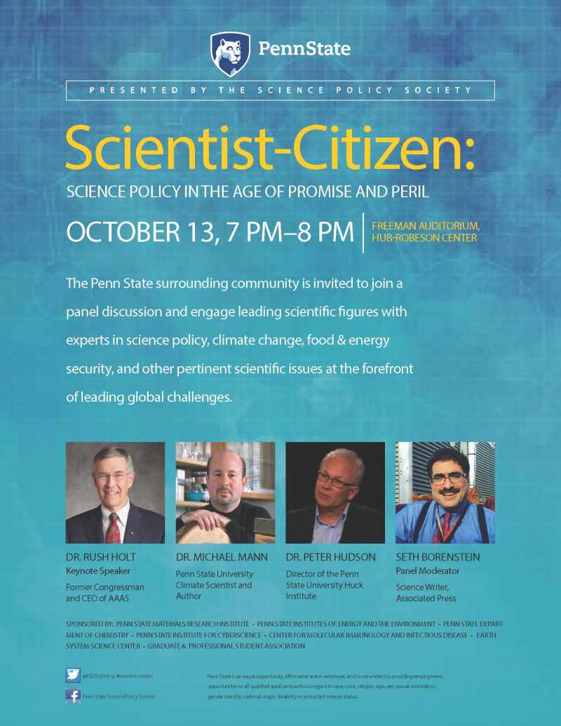 Holt, Hudson, and Mann science politics panel flyer 2016